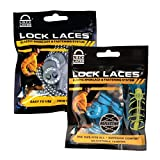 LOCK LACES Reflective 2-Pack (Elastic No Tie Shoelaces) (Teal Blue-Storm Gray)