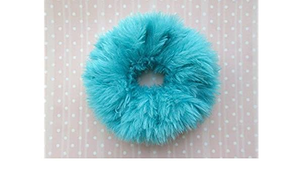 Amazon.com  Fluffy Hair Tie Fuzzy Teal Turquoise Scrunchie Large Ponytail  Holder Faux Fur Hair Band  Handmade 0d8b30a1951