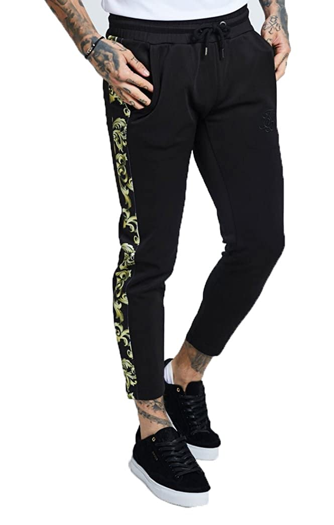 Sik Silk Poly Tricot Cropped Jogger – Black & Gold