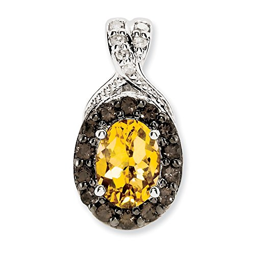 Jewelry Stores Network Citrine & Smoky Quartz Diamond Sterling Silver Pendant 15X8mm 0.8 Ct
