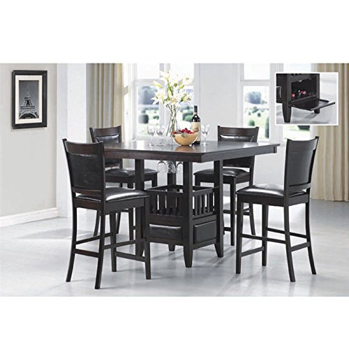 Jaden Square Counter Height Table with Center Storage Cabinet Espresso Birch Dining Room Pedestal