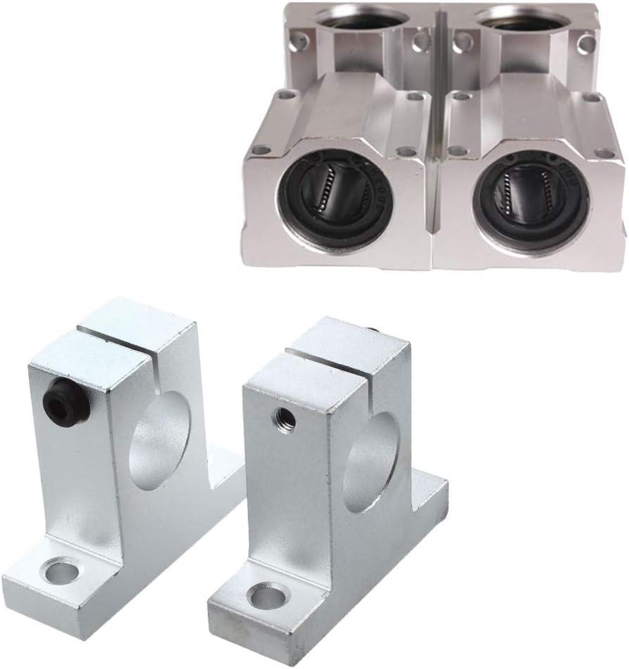Haude Lot de 8 roulements en aluminium de 20 mm 4 blocs doreillers de support darbre et 4 bagues SC20UU /à roulement /à billes lin/éaire pour CNC