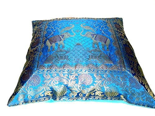 16x16 inch (40x40 cm) Elephant Banarsi Silk Indian Ethnic Bohemian Decorative Cushion Cover Handcrafted Patchwork Sari Throw Pillow Boho Decor Cushion Covers for Gift (Silk -