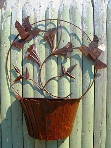 "28""t x 23""w Tin Hummingbird Wall Wrought Iron Flower Planter"