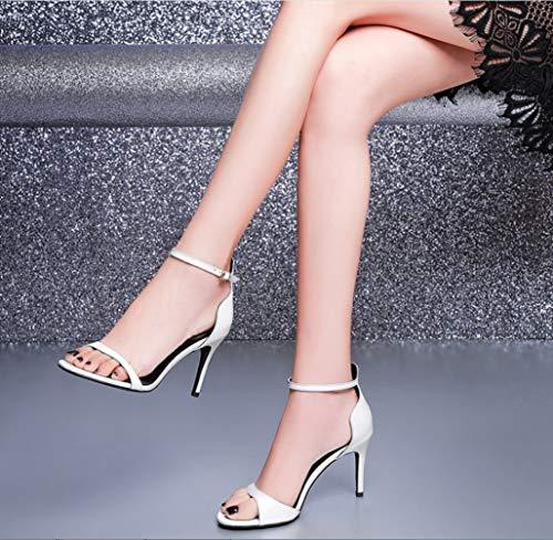 Con Mano A High Peep Fine Fashion Heels Fibbia Liangxie Sandali Fatti Donna In Da Bianca Ultimate Shoes Lady Pelle Bocca Fish Scarpe Roma awqvw4SF