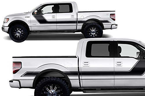 (Factory Crafts Rally Stripe 2 Side Graphics Kit 3M Vinyl Decal Wrap Compatible with Ford F-150 2009-2014 - Matte Black)