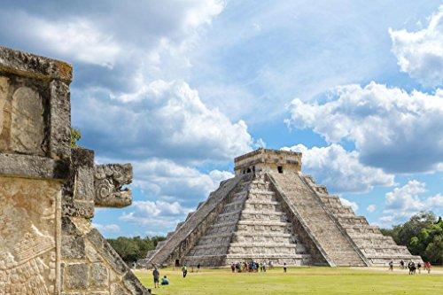 Laminated El Castillo Mayan Temple Chichen Itza Mexico Photo Art Print Sign Poster 18x12 inch (Best Chichen Itza Tour)