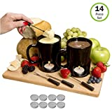 Evelots Fondue Mugs,2 Mugs,4 Forks & 8 Votive Candles, Black/White- 14 Piece Set
