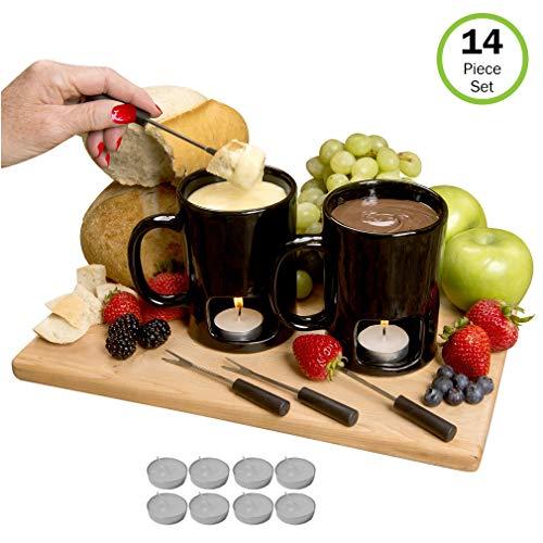 Evelots Fondue Mugs,2 Mugs,4 Forks & 8 Votive Candles, Black/White- 14 Piece Set by Evelots