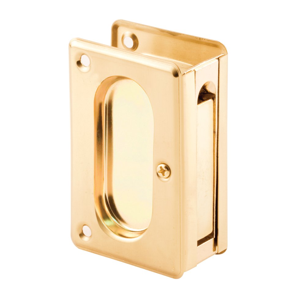 Prime-Line Products N 7361 Pocket Door Passage Pull, 3-3/4-Inch, Polished Brass