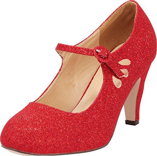 Cambridge Select Women's Round Toe Mid Heel Mary Jane Dress Pump,8 B(M) US,Red Glitter