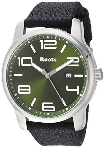 Roots Men's Core Stainless Steel Japanese-Quartz Watch with Canvas Strap, Black, 22 (Model: 1R-LF420GN6B) (Roots Canada Watch)