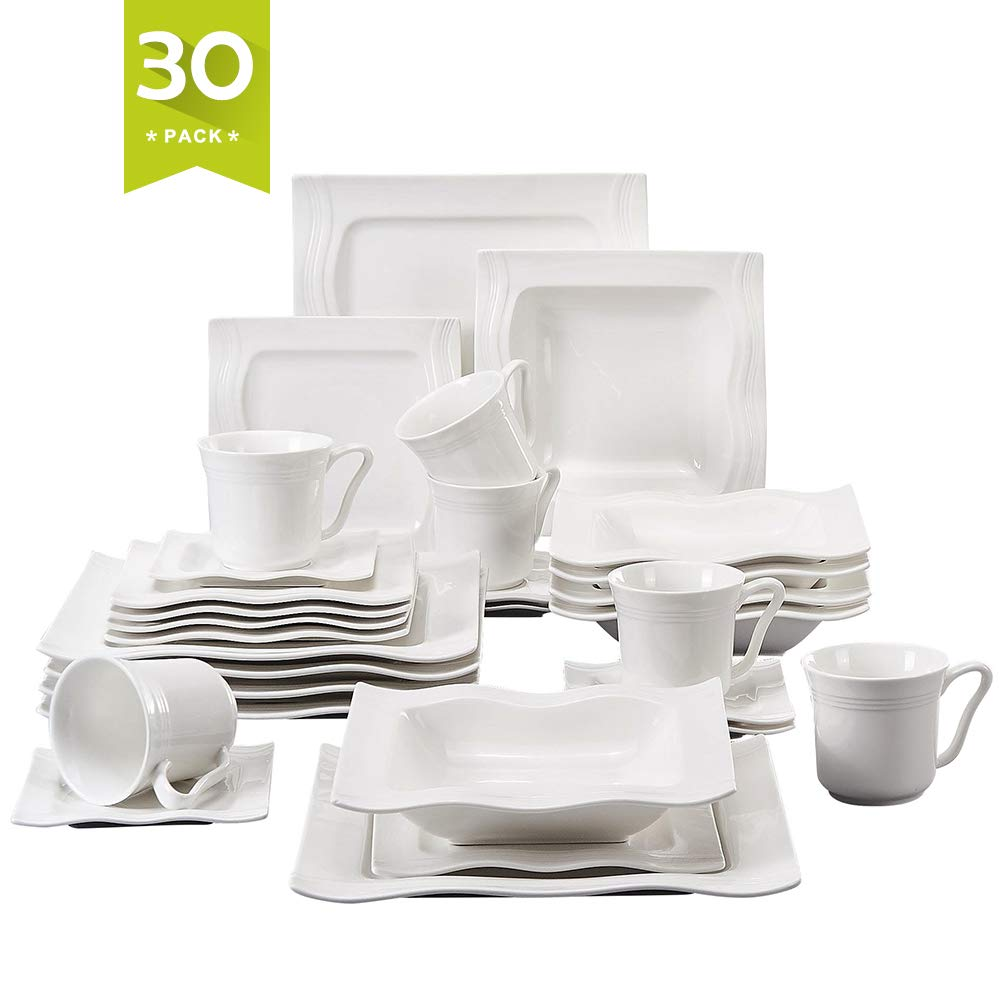 Malacasa and Service Dinner Combi-Set with 6 Soup Plates Pack 12-Piece Ivory White Porcelain China Ceramic Cream Series Blance