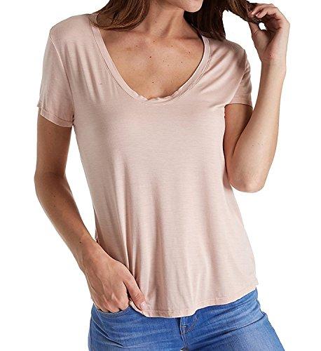 Splendid Women's Deep Uneck Top, Pink/Beige, M