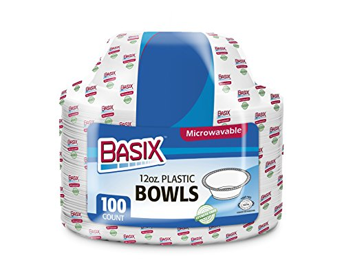 (Basix 12 Ounce Disposable Bowls Microwave Safe 100 Count White)