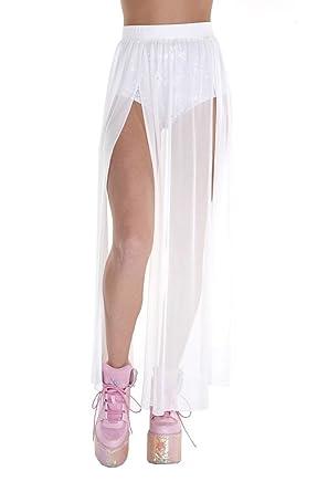 iHeartRaves White Cosmic Heroine Sheer Mesh Maxi Skirt (X-Small)