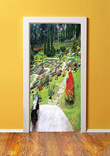 - SHENGLIPINK Country Decor 3D Door Sticker Wall Decals Mural Wallpaper,Bromeliad at Mae Fah Luang Garden Lawn Flowerbeds Evergreens Wooden Seat,DIY Art Home Decor Poster Decoration 30.3x78.1780,