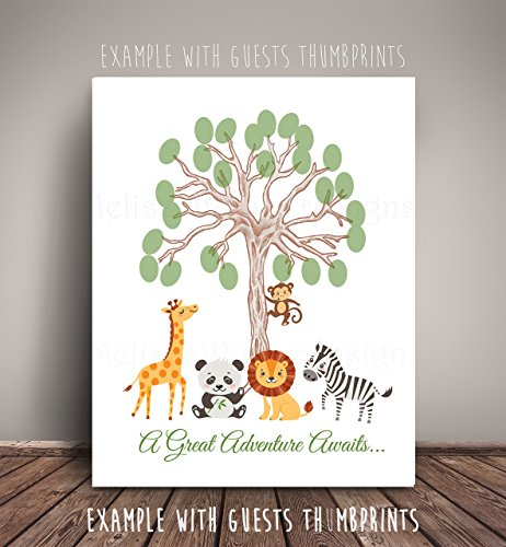 Jungle Safari Animals Brown Thumbprint Tree Nursery Art -Serves as