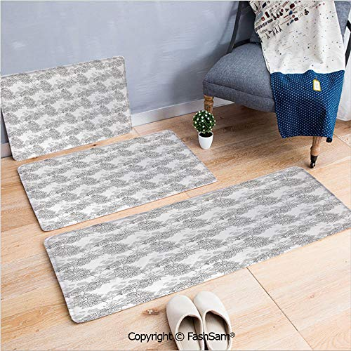 (FashSam 3 Piece Flannel Doormat Spherical Disc Shaped Internal Pitch Bowls Spiral Mesh Hoop Concept Design for Kitchen Rugs Carpet(W15.7xL23.6 by W19.6xL31.5 by W15.7xL39.4))