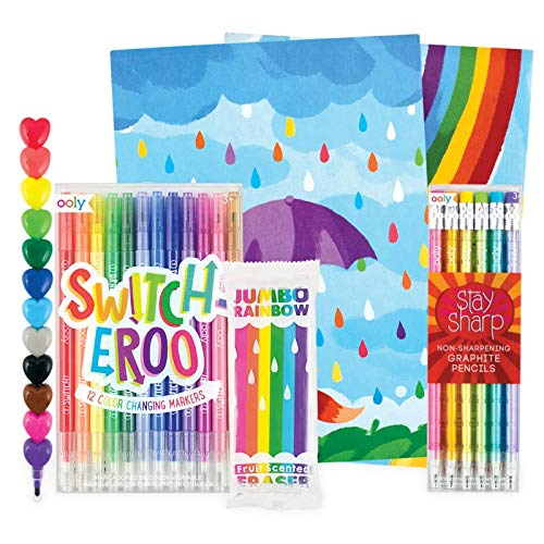 OOLY Happy Pack, Graphite Pencils + Scented Eraser + Crayons + Color-Changing Markers + 2 Sketchbooks - All Rainbows All The Time Giftables Pack
