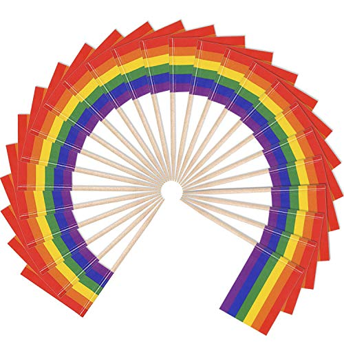 (Hestya Gay Pride Flags Toothpicks Rainbow Flag Picks Cupcake Toppers for Party Pride Event (100))