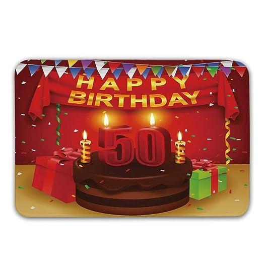 Soefipok 50 cumpleaños Decoraciones Antideslizantes Alfombra ...