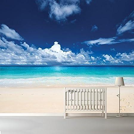 Azutura White Sand Beach Wall Mural Blue Sea Photo Wallpaper