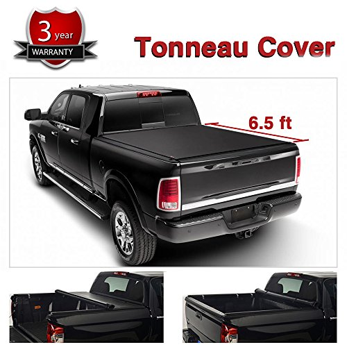 Alxiang 1pc Black Vinyl Clamp On Soft Lock & Roll-up Top Mount Tonneau Cover Assembly w/Rails+Mounting Hardware Fit Dodge Ram 09-17 1500 10-17 2500/3500 Pickup 6.5ft Fleetside Bed