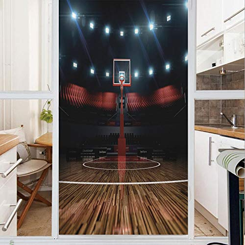 - Decorative Window Film,No Glue Frosted Privacy Film,Stained Glass Door Film,Professional Basketball Arena Stadium Before Game Championship Sports Image,for Home & Office,23.6In. by 59In Multicolor