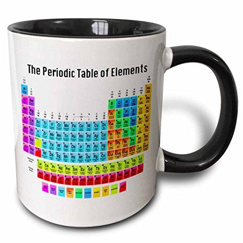 3dRose 108318_4 The The Periodic Table Of Elements Two Tone Black Mug, 11 oz, White ()