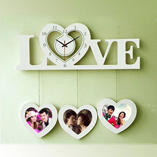 Lina Unique Love Styling Wooden Cute 20 Inch Art Wall Clock Modern Minimalist Atmosphere Personality Bedroom Quiet Quartz Clock Clock Can Be Placed Photo Wall Charts (Color : White) from Lina