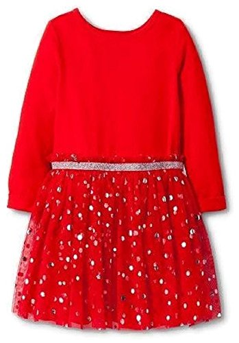 Accent Gold Lines - Cat & Jack Christmas A-Line Dress with Tulle and Gold Accents - 18 Months