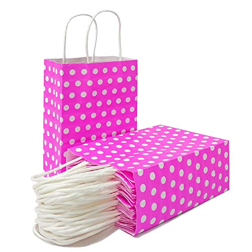 25 PCS Gift Bags Pink Kraft Paper Bags with Handles and White Dots for Kid's Birthday Wedding Holiday Party Supplies by ADIDO EVA(8.2 x 6 x 3.1 in) -