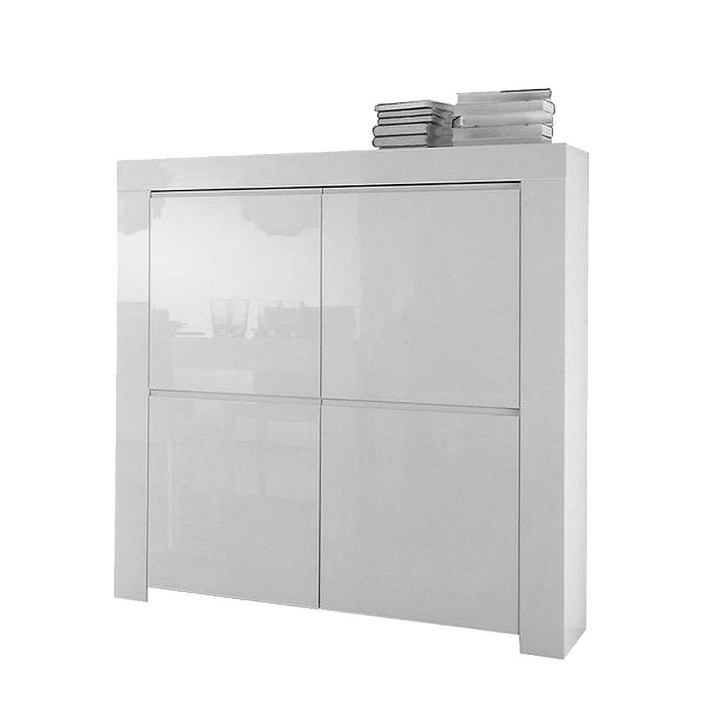Highboard mit 4 Türen aus Holz Weiß Hochglanz - Modell Ada