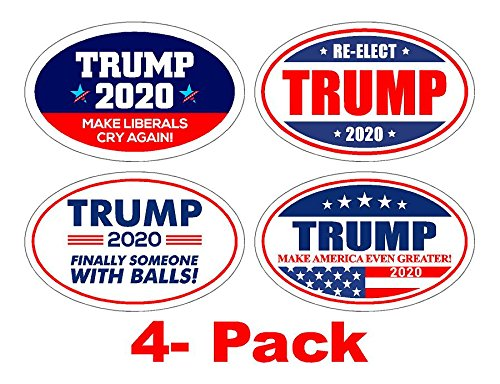 StickerPirate 4 PackOval Car Magnet Pro Donald Trump 2020 Make America Great Variety Pack ()