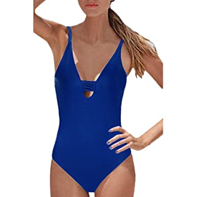 3659abddea ManxiVoo Women Sexy Bikini Sets Halter Backless Monokini Bathing Suit One  Piece Swimsuit Bodysuit Beachwear (