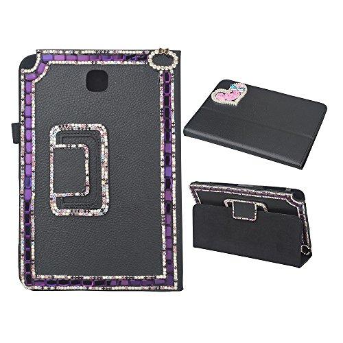 Evtech(tm) Bling Crystal Rhinestone Case for Samsung Galaxy Tab A 8.0 T350 Folio Case - Slim Fit Premium Vegan Leather Cover for Samsung Galaxy Tab A 8.0 Inch Tablet