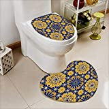 also easy 2 Piece Anti-slip mat set zellige tile moroccan seamless pattern razil moorish background islamic texture Anti-slip Water Absorption