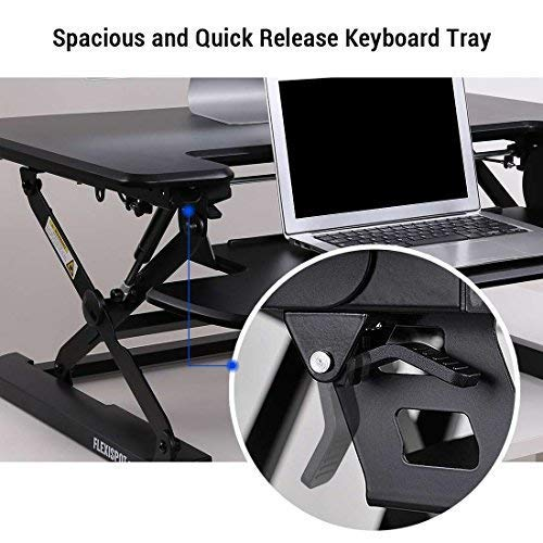 FlexiSpot M8MB Standing Desk - 35'' Height Adjustable Tabletop Workstation Sit to Stand Gas Spring Riser Converter with Spacious and Quick Release Keyboard Tray by FLEXISPOT (Image #3)