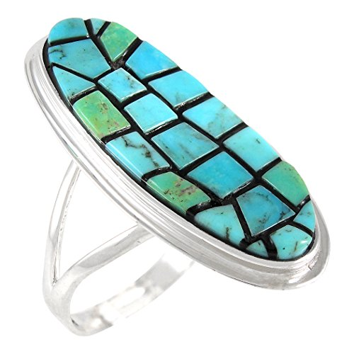 Turquoise Ring Sterling Silver Genuine Turquoise Mosaic Inlay (Turquoise)(10) (Southwestern Mosaic)