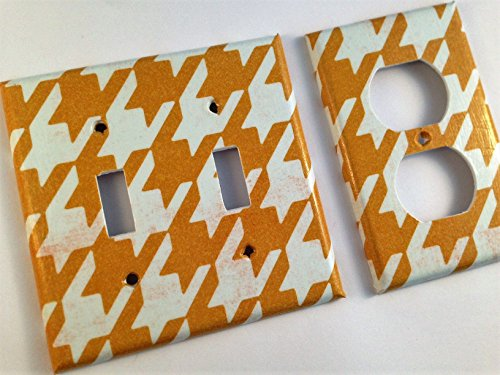 Hollywood Switchplate - Gold Houndstooth Light Switch Cover - Various Size Switchplates offered