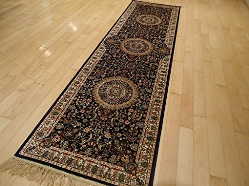 (Luxury Silk Persian Navy Rug High Quality Silk Rug 2x12 Navy Rug Silk Hallway Runner Rugs Persian Area Rug Traditional Runners Navy Silk Low Pile Rug)