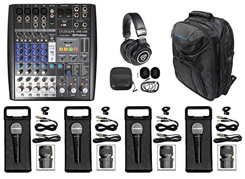PRESONUS StudioLive AR8 8-Ch Live Sound/Studio Mixer+Backpack+Headphones+Mics