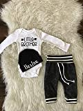 LITTLE BROTHER outfit, Baby Boy Coming Home Outfit/Personalized Infant Baby outfit and Hat/Monogrammed Baby Boy/Baby Shower Gift