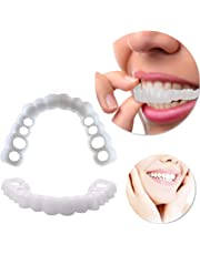 Teeth Professional Braces Cosmetic Hand Crafted Detail Moldable Mouth Care White Beautiful Neat Snap on Instant Perfect Smile Comfort Fit Flex Teeth Veneers(for Top and Bottom)