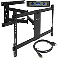 Everstone TV Wall Mount Fit Most 37-75 Heavy Duty Articulating Full Motion Bracket 25.24 Extension Arm,LED,LCD Plasma Flat Screen TVs,up to VESA 600mm 110 lbs HDMI Cable &Bubble Level