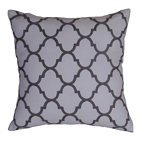 Bridgeso Minimalist Throw Pillow Cover Pillowcase Cotton Linen Blend Trellis Chain Quatrefoil Pattern embroidered Cushion Shell, Pack of 1, 18