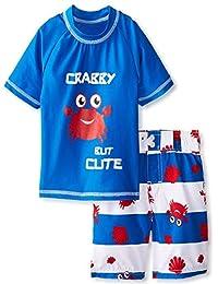 iXtreme Little Boys Swimwear Crab Short Sleeve Rashguard Swim Board Short Trunk, Blue, 4T