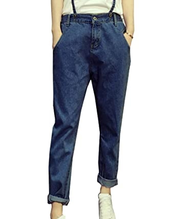 784250c416a Quge Women s Elastic Waist Trousers Stetchy Comfy Ankle Pants Jeans with  Braces Dark Blue S