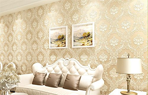 Wallpaper Thicker Damascus Style 3D Relief Non-Woven Decoration Living Room Restaurant TV Wall Bedroom Wallpaper -53 cm (W) 10m (L), Cream Color ()